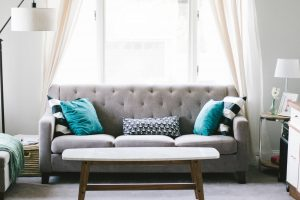Upholstered Couch and pillows